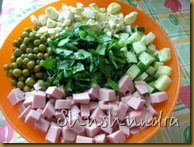 рецепт окрошки на квасе, окрошка с колбасой, приготовление окрошки, холодный суп, скачать книга рецептов