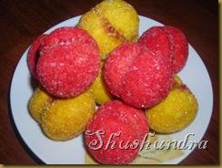 пирожные персики, печенье персики, рецепт персики, персики из теста, песочное тесто
