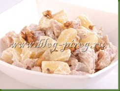 салат из говядины, рецепт салат с сыром, салат с ананасами и сыром, французский салат, салат из говядины с сыром, салат с ананасами и говядиной