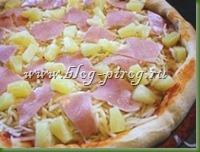 пицца с ананасами, гавайская пицца, американская пицца, рецепт пицца с ананасами, рецепт гавайская пицца, рецепт пицы, пицца на толстом тесте