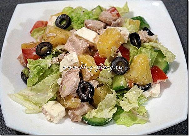 салат из куры с ананасом, новые салаты с фото, салат из курицы с ананасом, новый простой салат