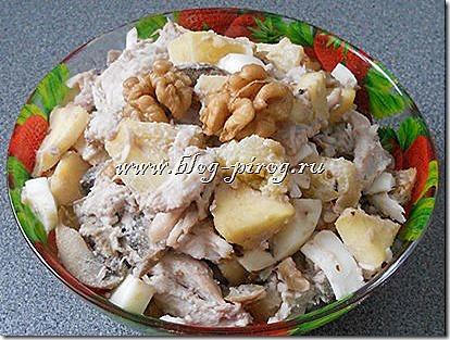 , рецепт салата с ананасом